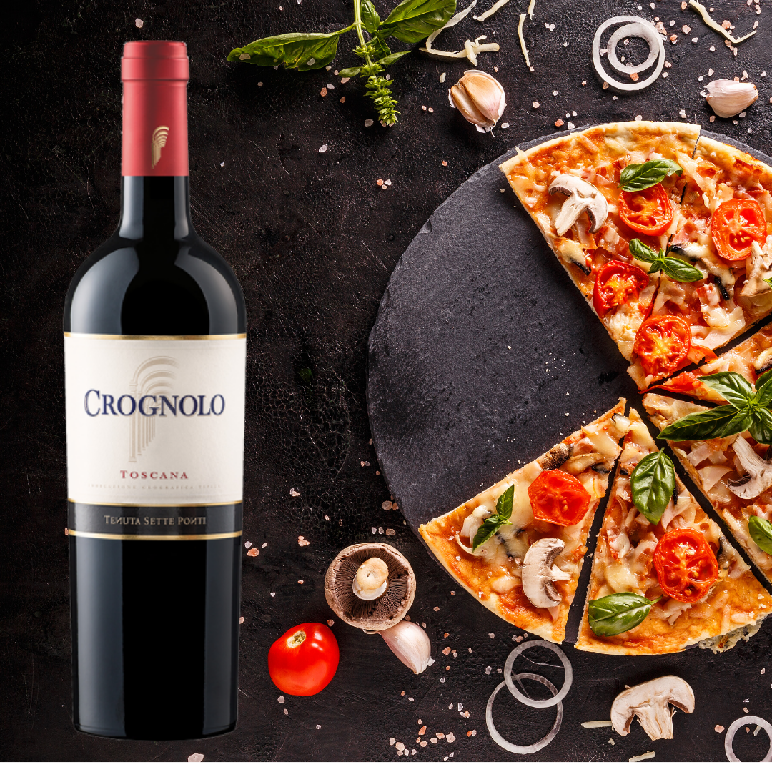 Wine and Football pairing, pizza and crognolo